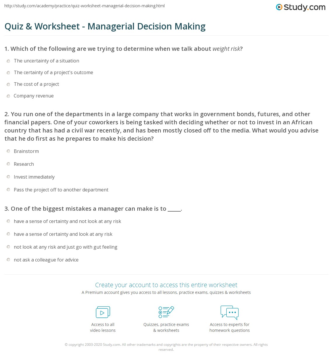 worksheet Decision Making Worksheet quiz worksheet managerial decision making study com 1 you run one of the departments in a large company that works government bonds futures and other financial papers your cowork
