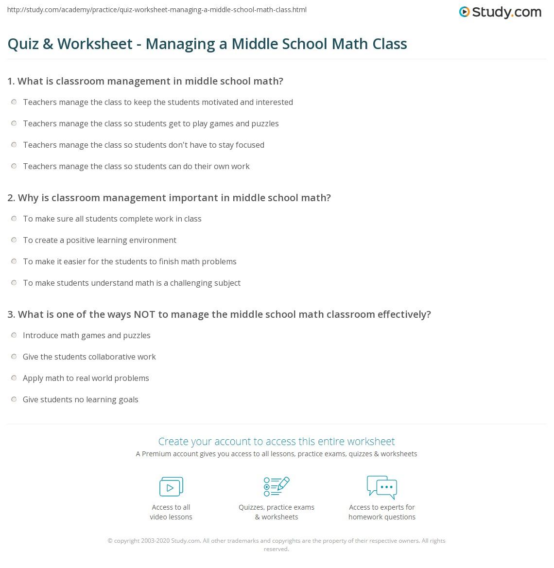 Quiz & Worksheet - Managing a Middle School Math Class   Study.com