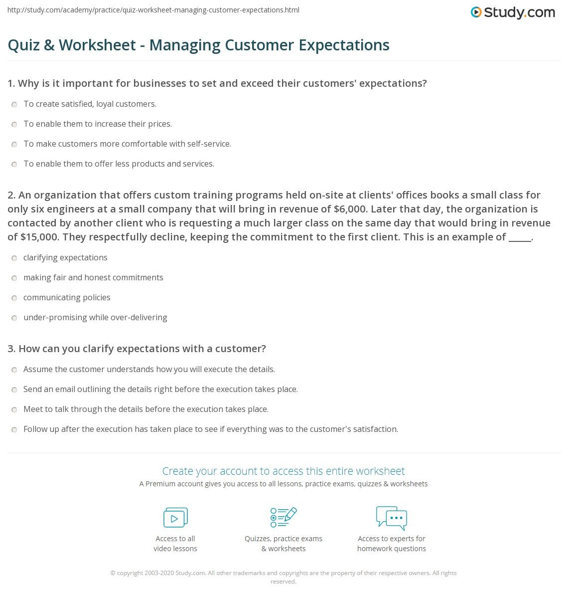 Quiz Worksheet Managing Customer Expectations Study Com