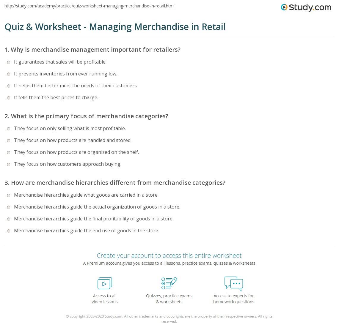 df473e007b5ef Quiz   Worksheet - Managing Merchandise in Retail