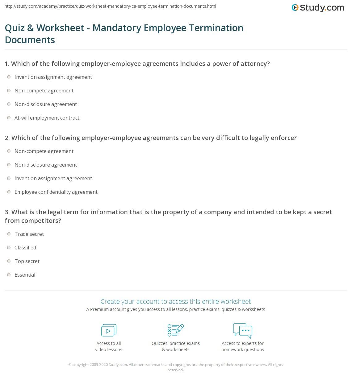 Quiz Worksheet Mandatory Employee Termination Documents Study