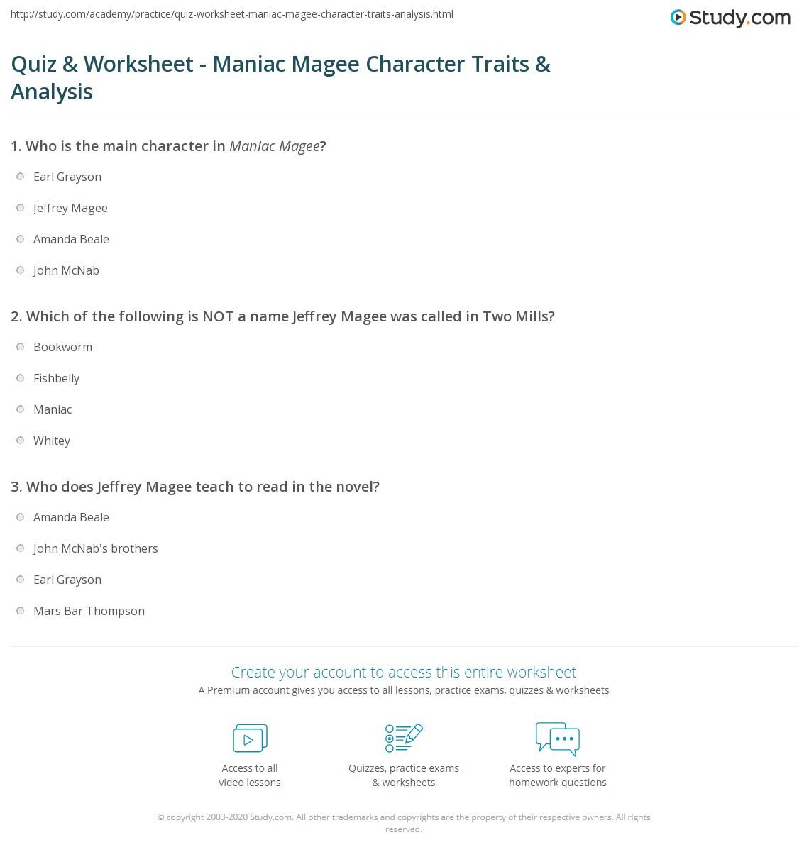 Quiz & Worksheet - Maniac Magee Character Traits & Analysis ...