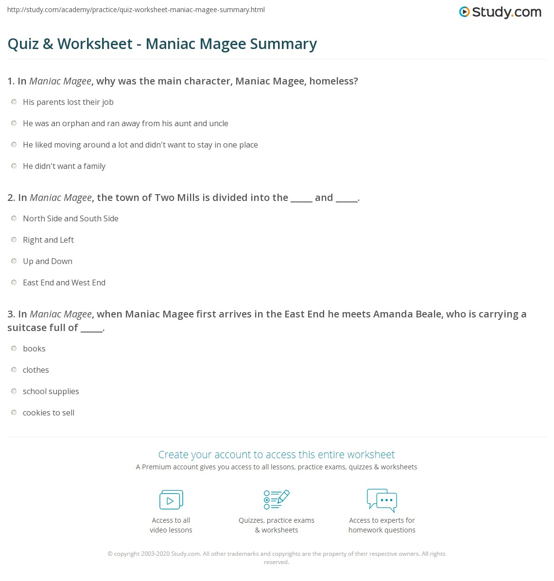 worksheet Maniac Magee Worksheets quiz worksheet maniac magee summary study com print of worksheet