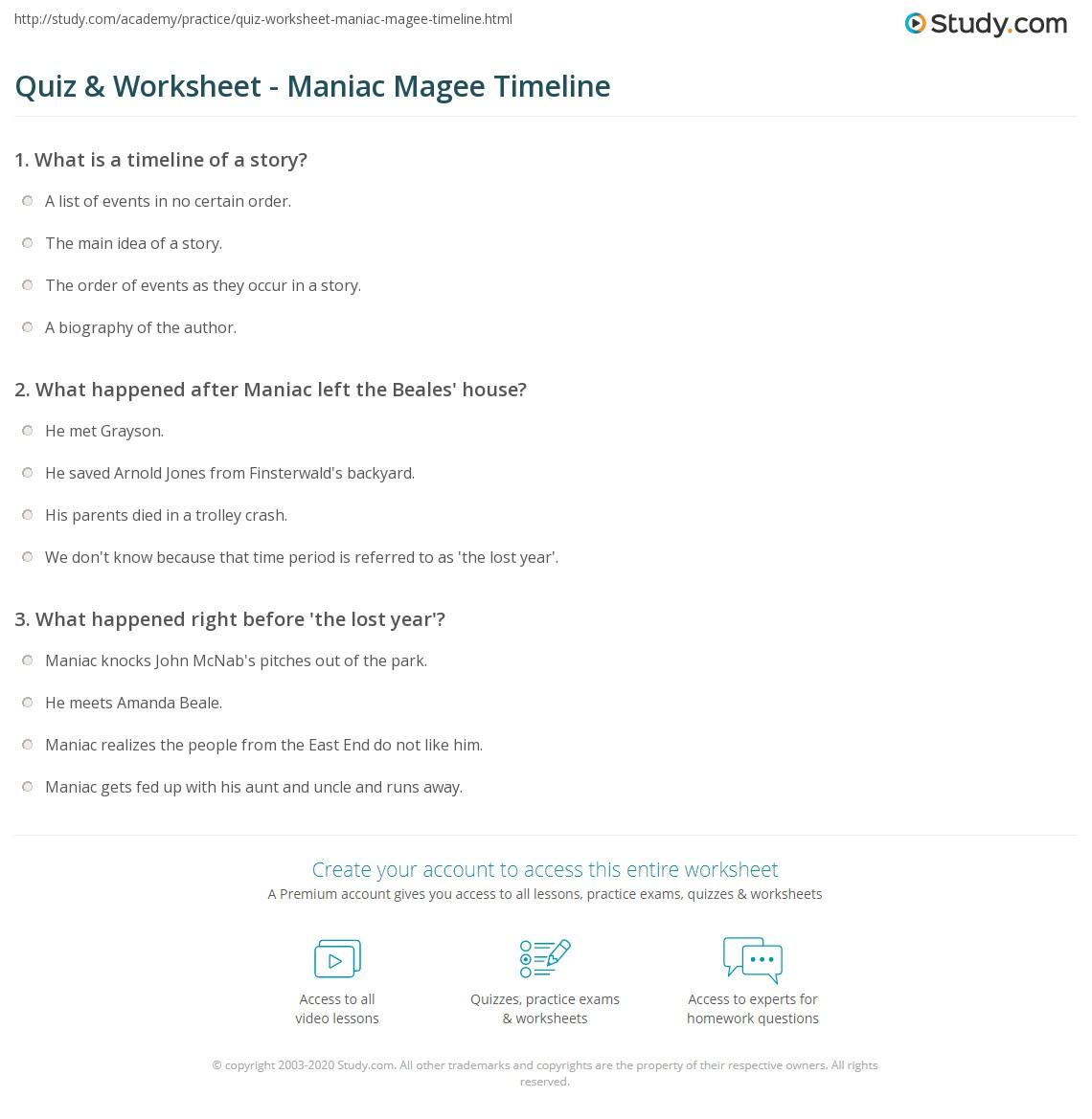 Quiz & Worksheet - Maniac Magee Timeline | Study.com