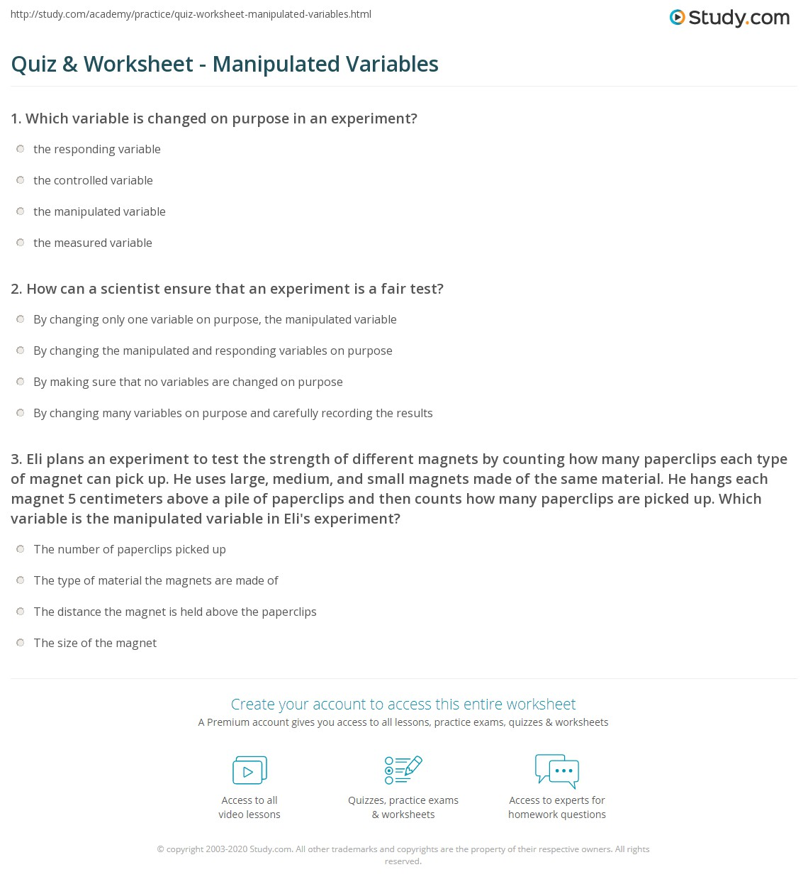 Quiz & Worksheet - Manipulated Variables | Study com