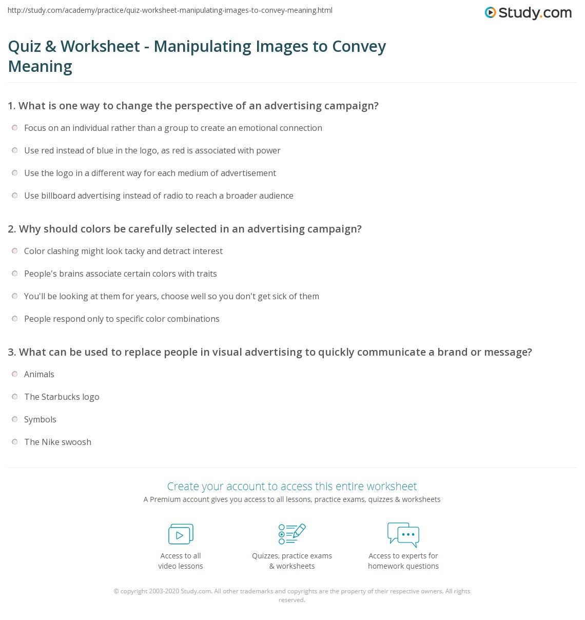 Quiz & Worksheet - Manipulating Images to Convey Meaning | Study.com