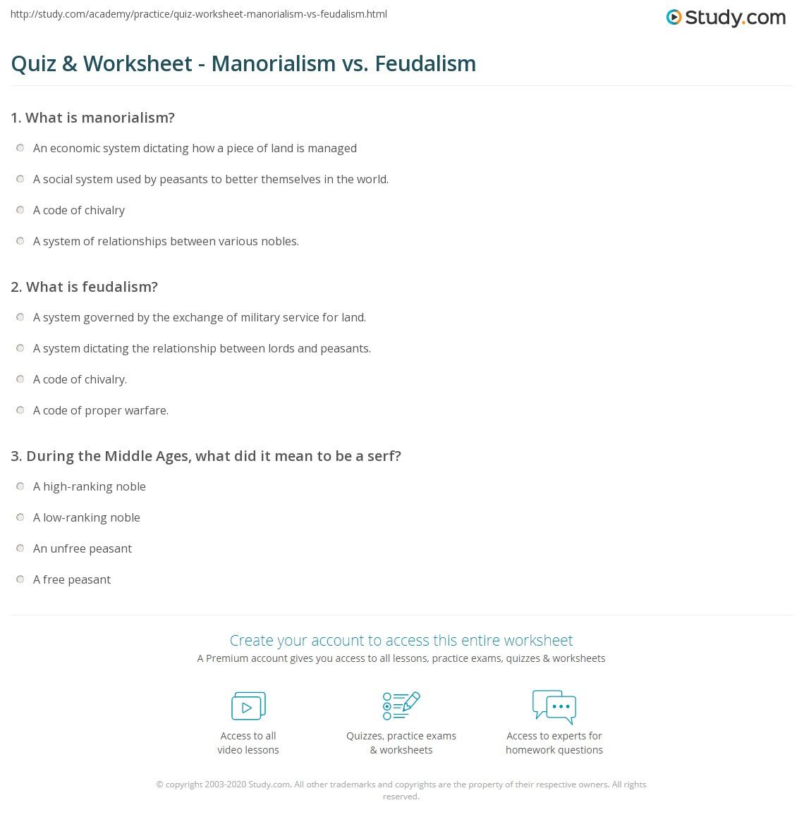 Quiz Worksheet Manorialism Vs Feudalism Study Com