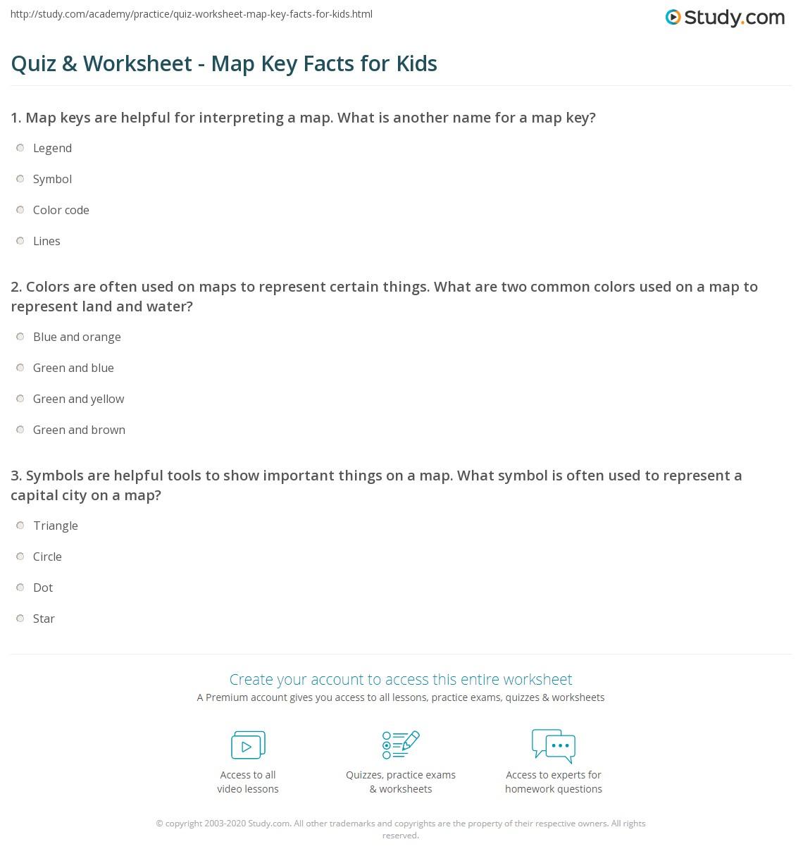 Quiz & Worksheet - Map Key Facts for Kids | Study.com