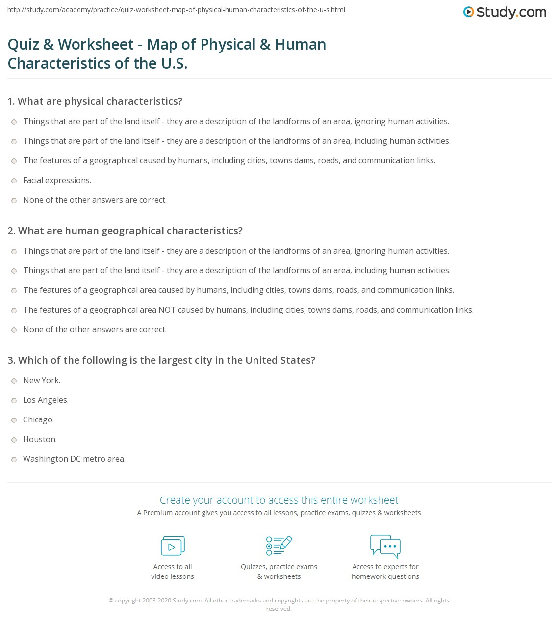 Quiz & Worksheet Map of Physical & Human Characteristics of the