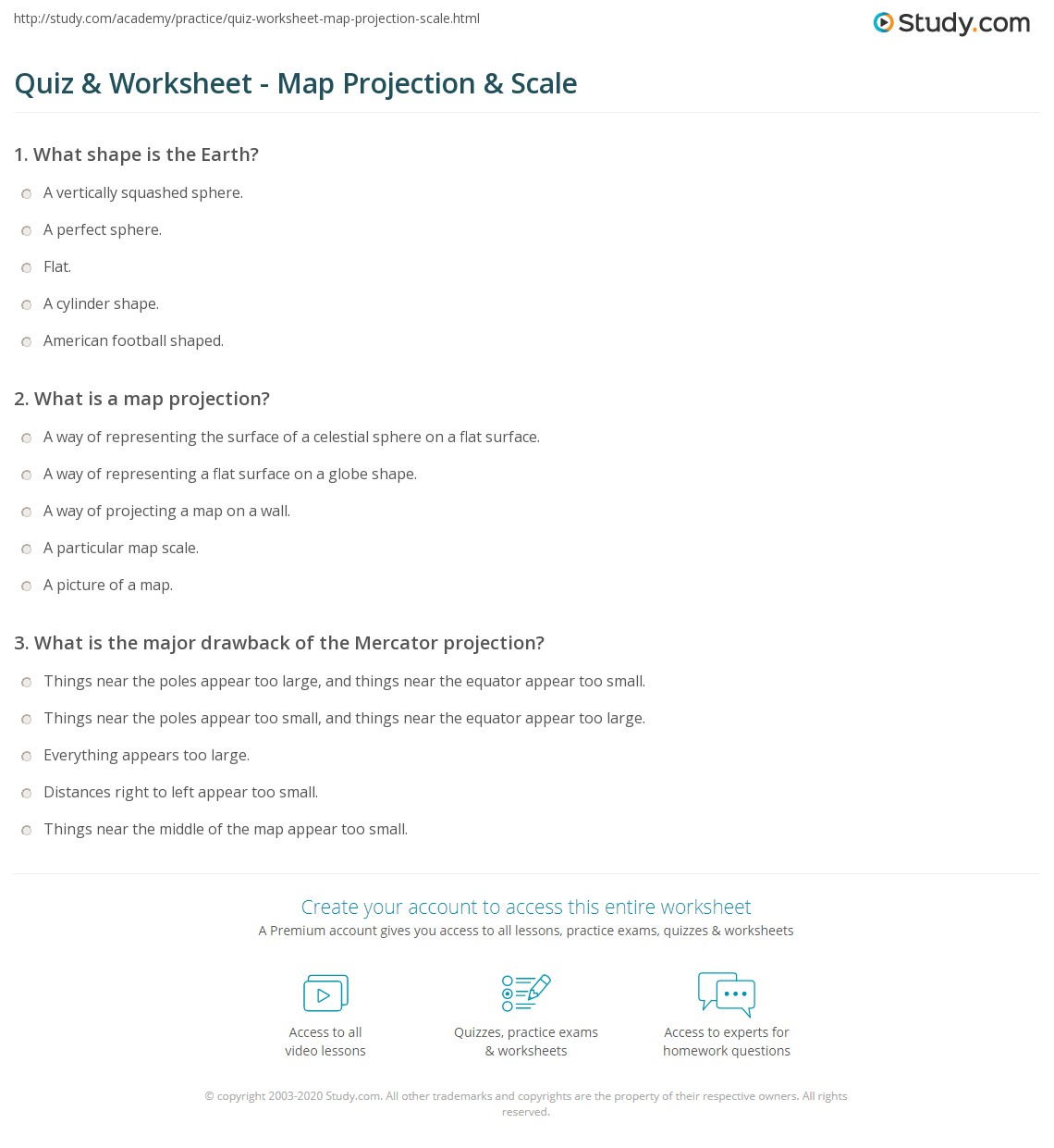 quiz worksheet map projection scale. Black Bedroom Furniture Sets. Home Design Ideas