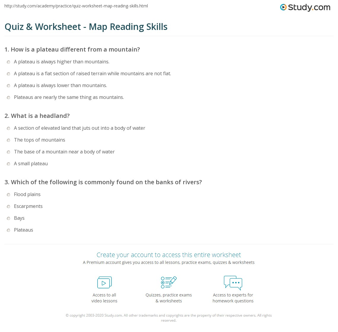 Quiz worksheet map reading skills study print how to read a map contours routes settlements worksheet ibookread PDF