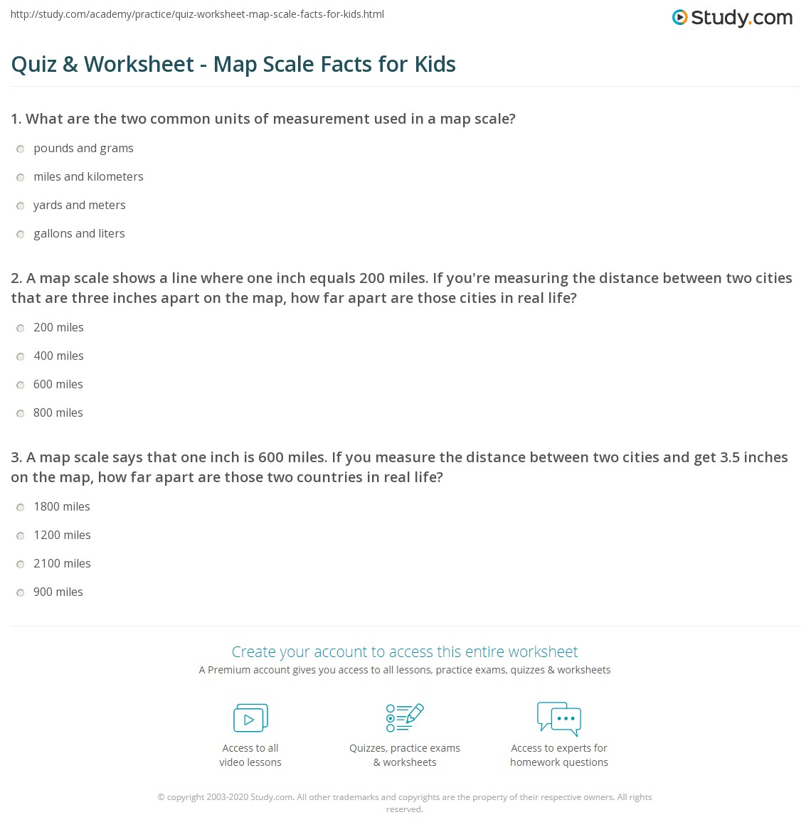 quiz worksheet map scale facts for kids. Black Bedroom Furniture Sets. Home Design Ideas