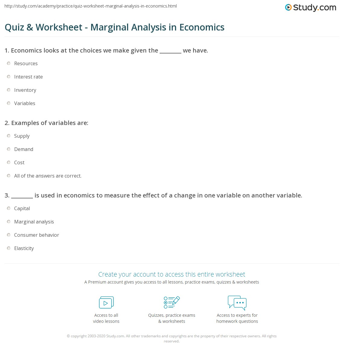 Quiz Worksheet Marginal Analysis In Economics Study Com