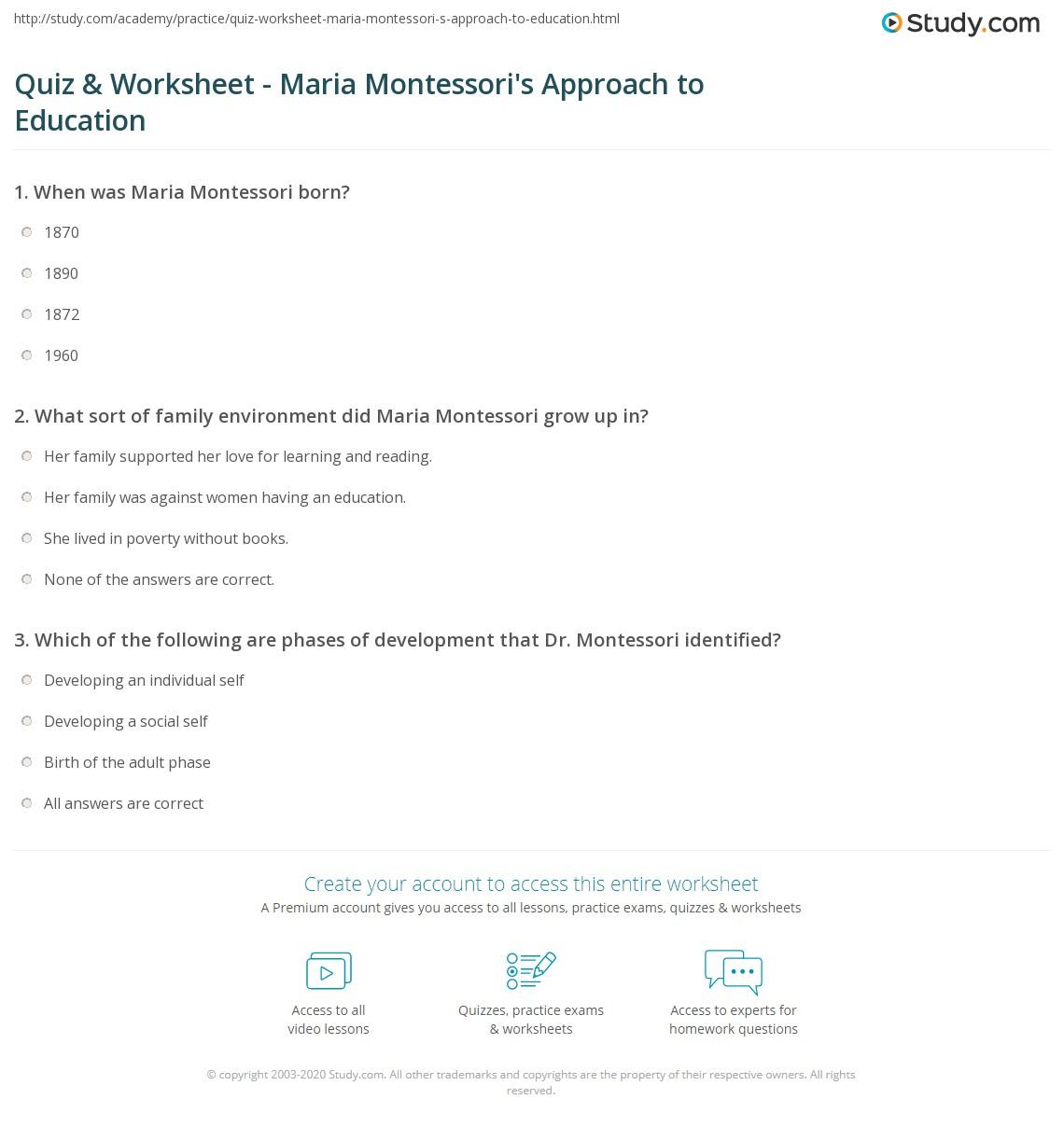 Quiz Worksheet Maria Montessoris Approach To Education Study