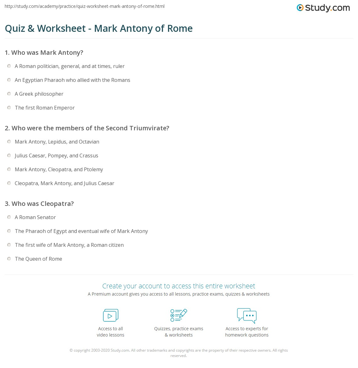 quiz worksheet mark antony of rome. Black Bedroom Furniture Sets. Home Design Ideas