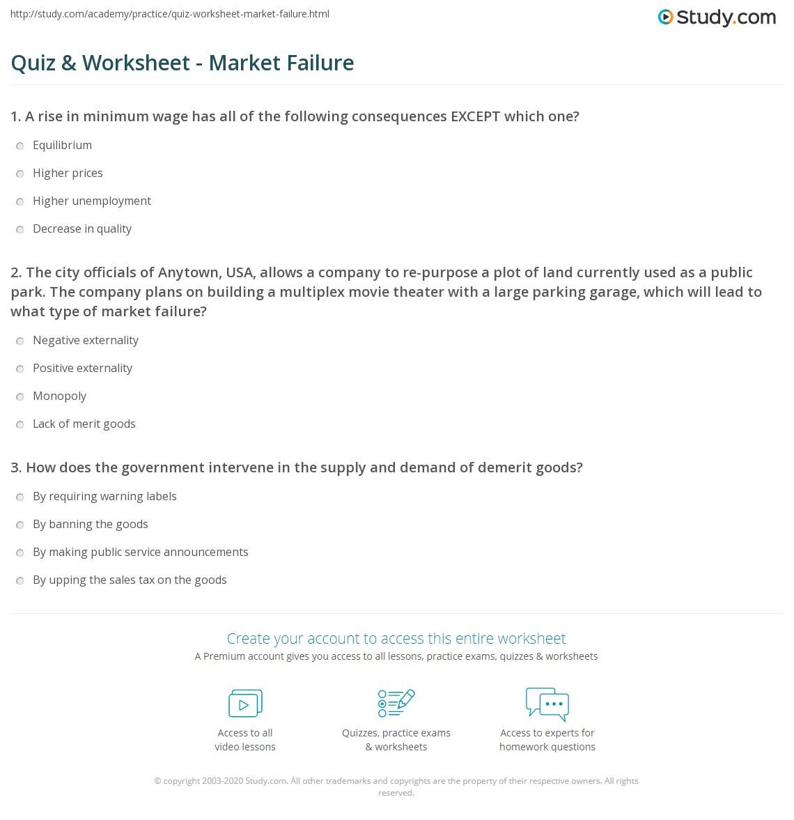 math worksheet : quiz  worksheet  market failure  study  : Market Math Worksheets