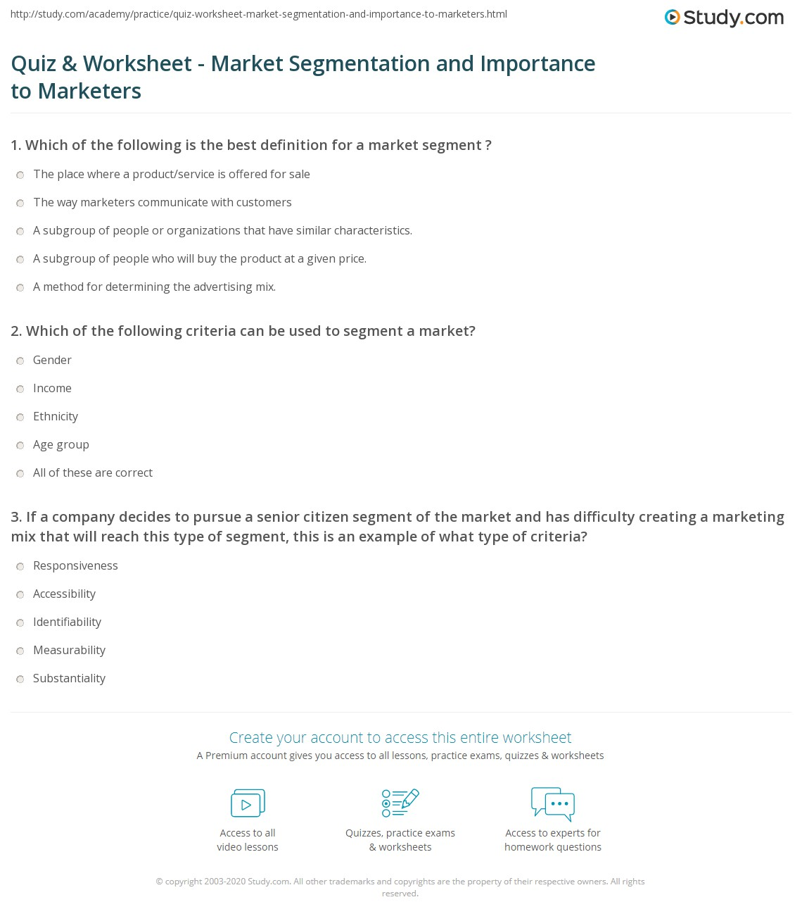 math worksheet : quiz  worksheet  market segmentation and importance to marketers  : Market Math Worksheets