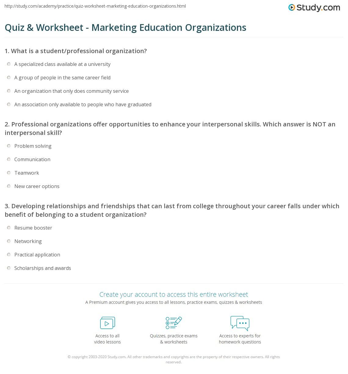 quiz worksheet marketing education organizations com print student professional organizations in marketing education worksheet