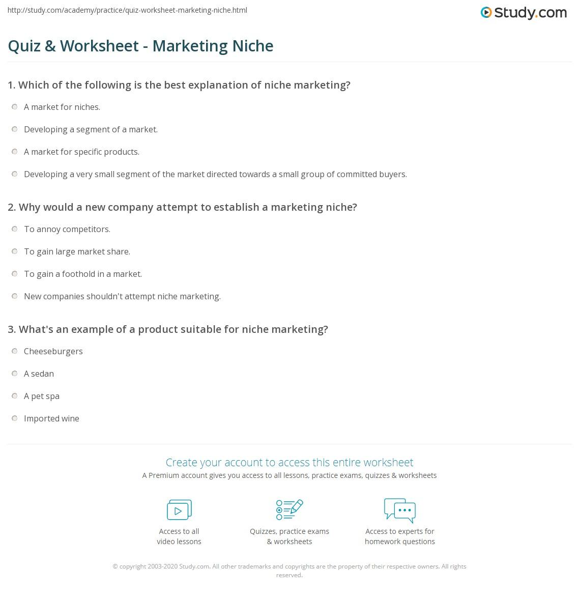 Quiz Worksheet Marketing Niche Study