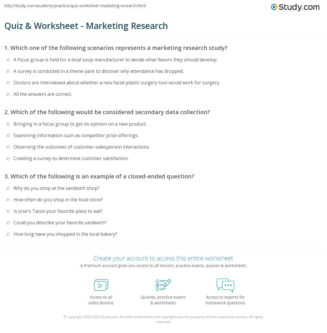 quiz & worksheet - marketing research | study
