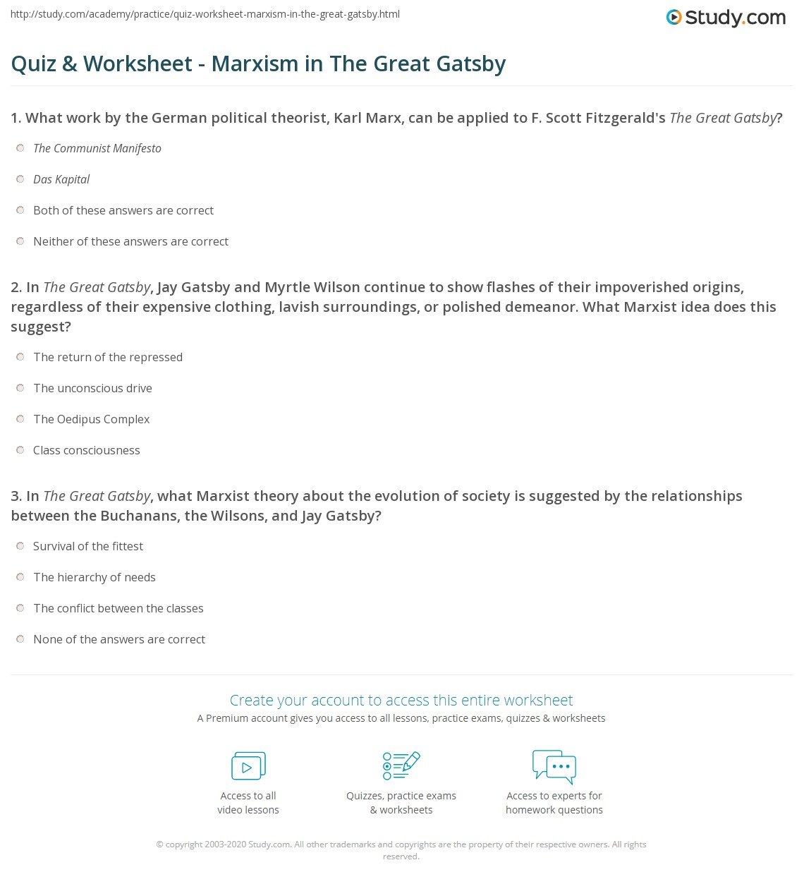 Worksheets The Great Gatsby Worksheets quiz worksheet marxism in the great gatsby study com gatsby