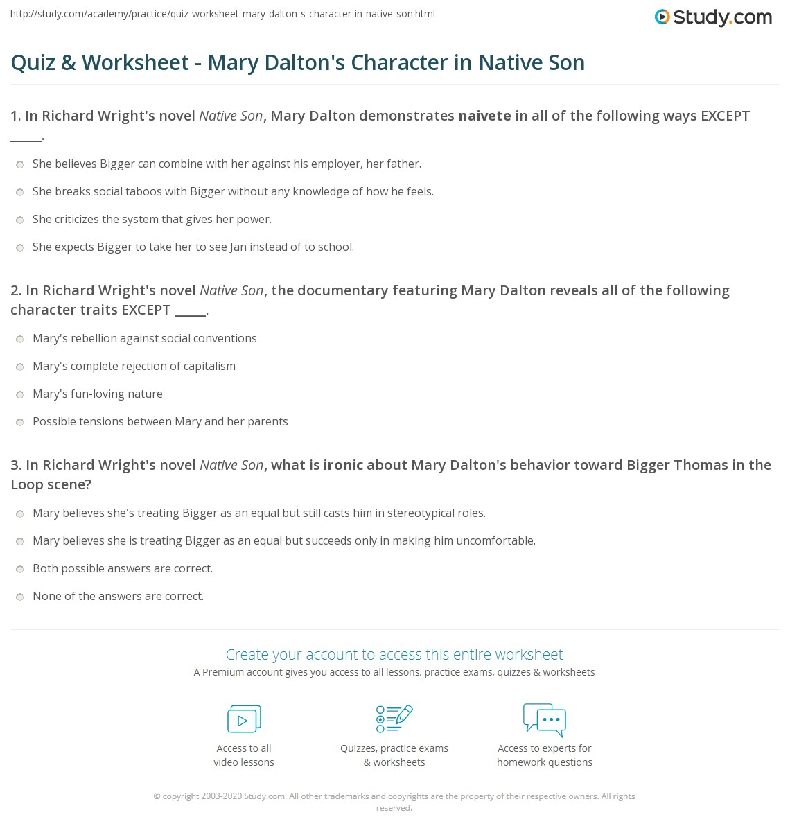 Quiz & Worksheet - Mary Dalton's Character in Native Son