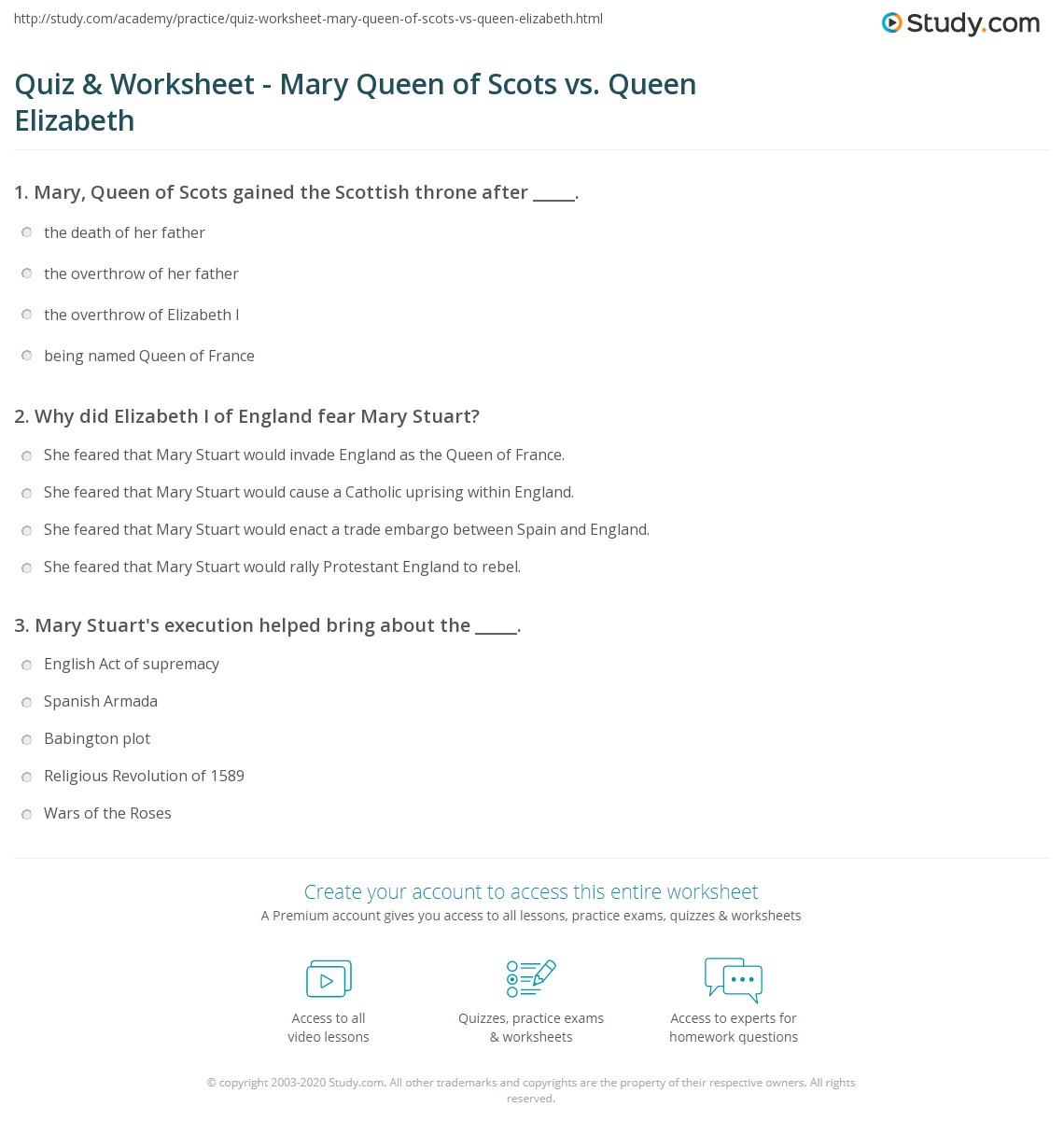 Quiz & Worksheet - Mary Queen of Scots vs  Queen Elizabeth | Study com