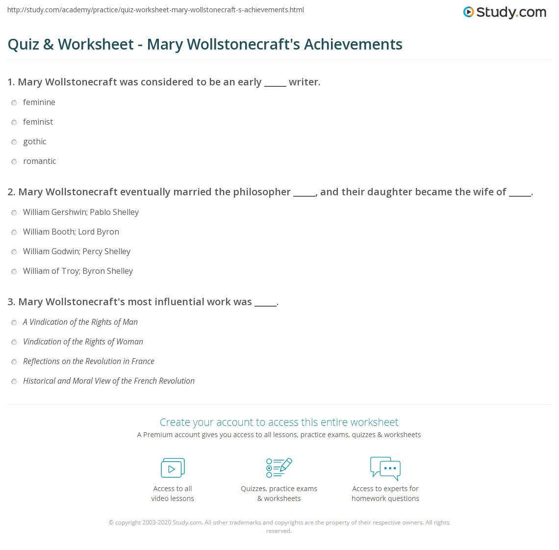 quiz worksheet mary wollstonecraft s achievements com print mary wollstonecraft works achievements influence worksheet