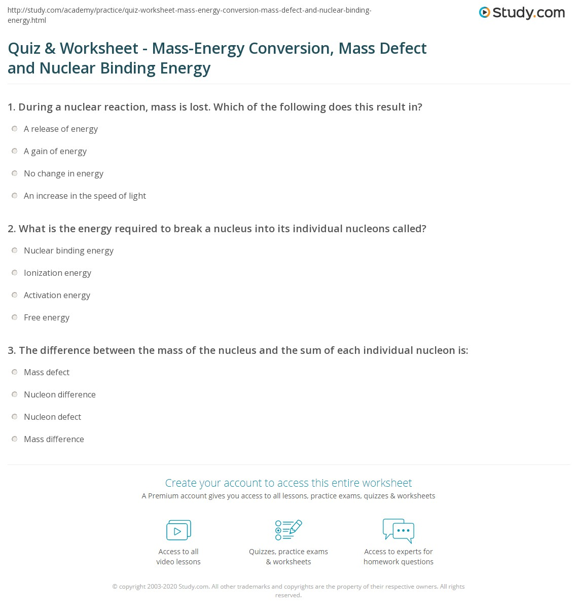 Quiz Worksheet MassEnergy Conversion Mass Defect and Nuclear – Character Defects Worksheet