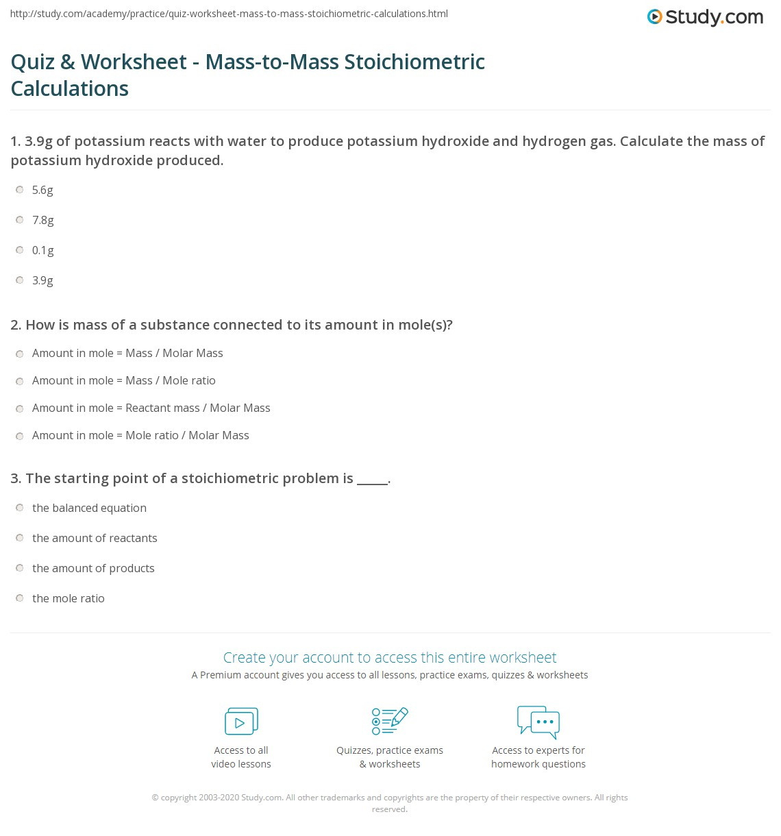 Quiz & Worksheet Mass to Mass Stoichiometric Calculations