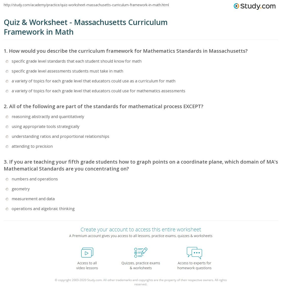 Quiz Worksheet Massachusetts Curriculum Framework In Math