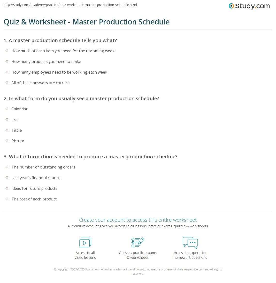 worksheet Schedule Worksheet quiz worksheet master production schedule study com print creation use outputs worksheet