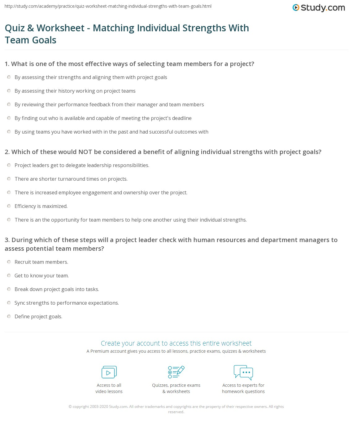 print aligning individual strengths with team goals worksheet