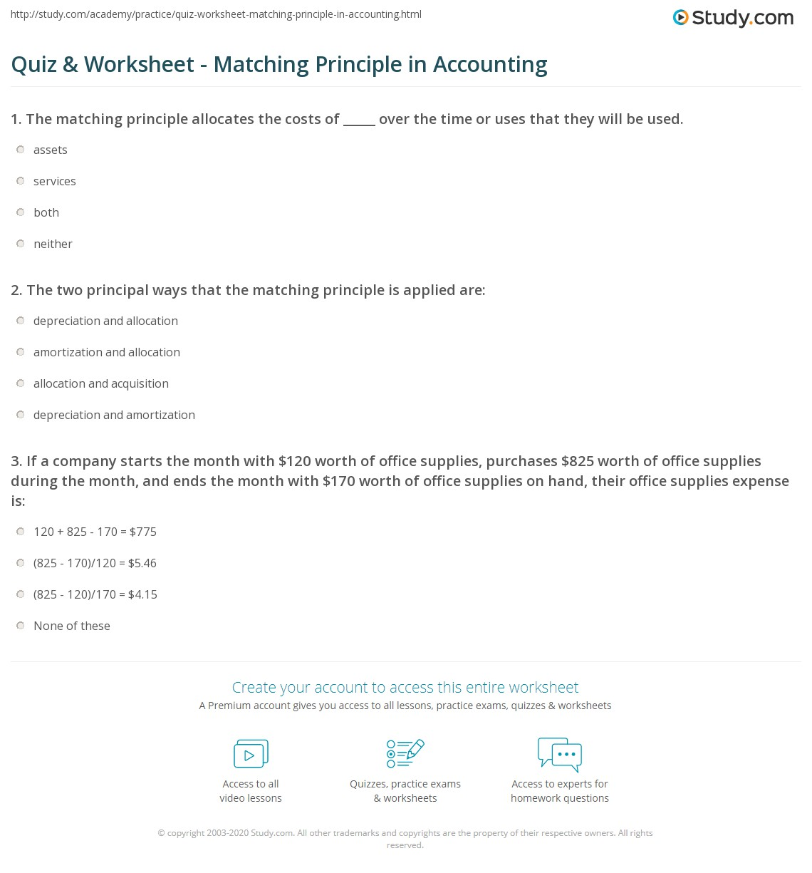 Quiz & Worksheet - Matching Principle in Accounting | Study.com