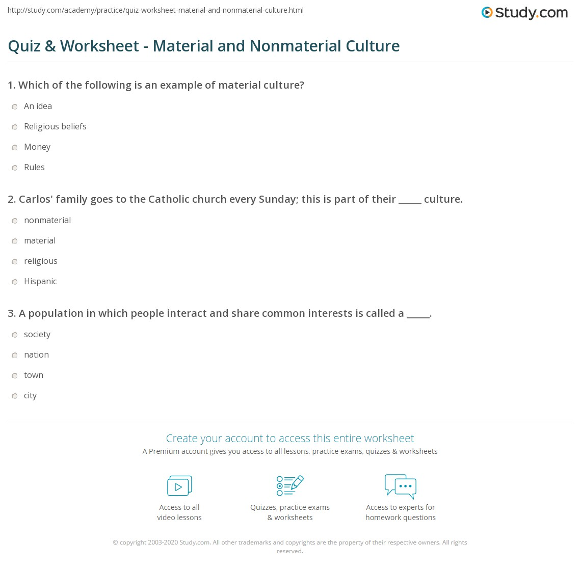 Quiz Worksheet Material And Nonmaterial Culture Study