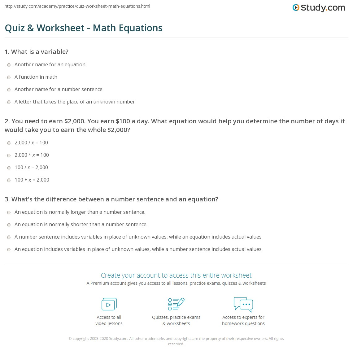 quiz & worksheet - math equations | study