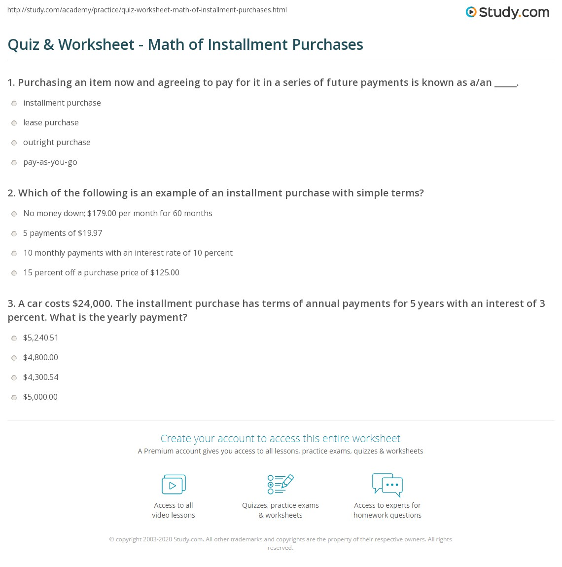 quiz worksheet math of installment purchases. Black Bedroom Furniture Sets. Home Design Ideas