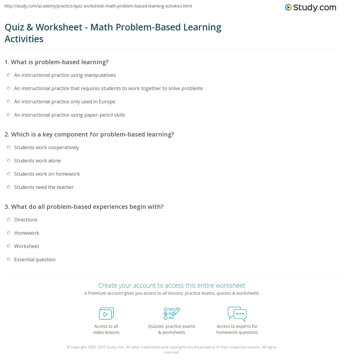 Quiz & Worksheet - Math Problem-Based Learning Activities | Study.com