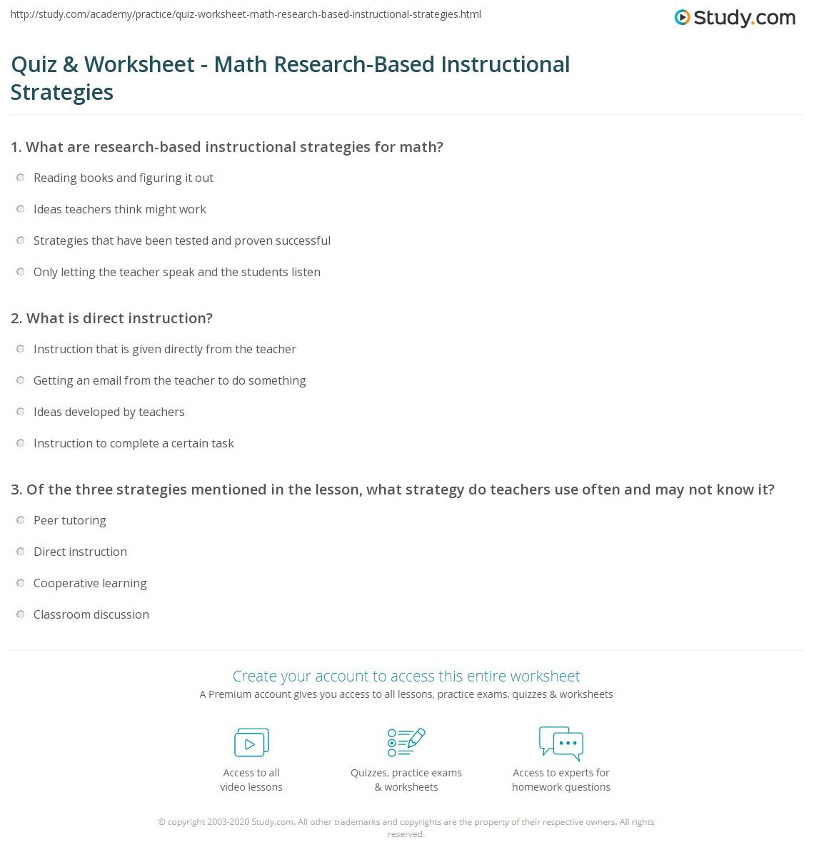 Quiz Worksheet Math Research Based Instructional Strategies
