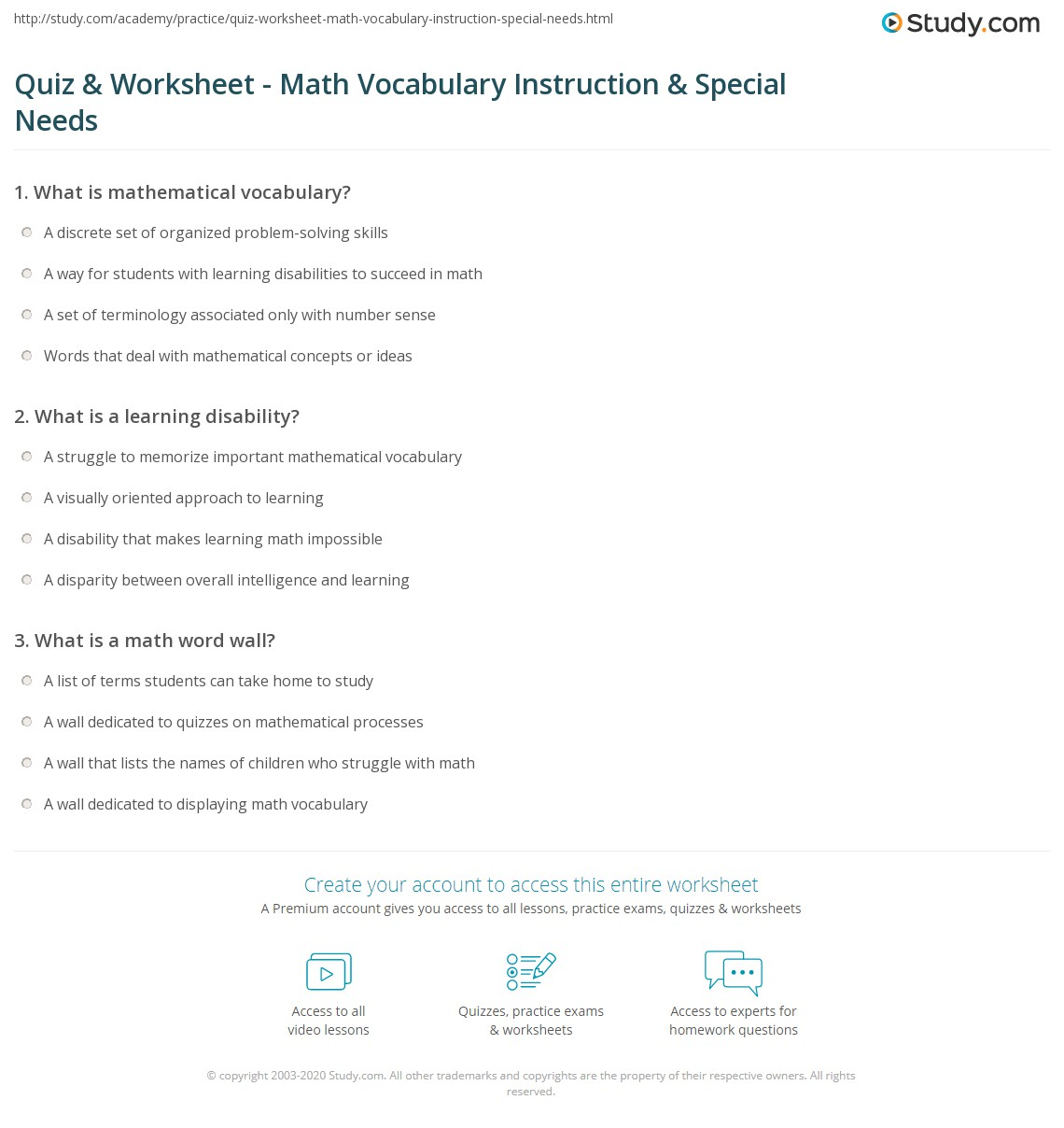 worksheet Math Vocabulary Worksheets quiz worksheet math vocabulary instruction special needs print teaching to students with learning disabilities worksheet