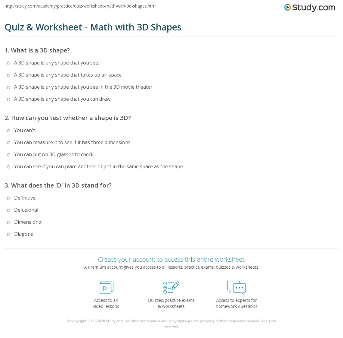 Workbooks solid shapes worksheets : Quiz & Worksheet - Math with 3D Shapes | Study.com