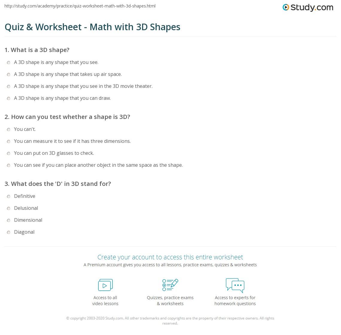 Quiz & Worksheet - Math with 3D Shapes | Study.com