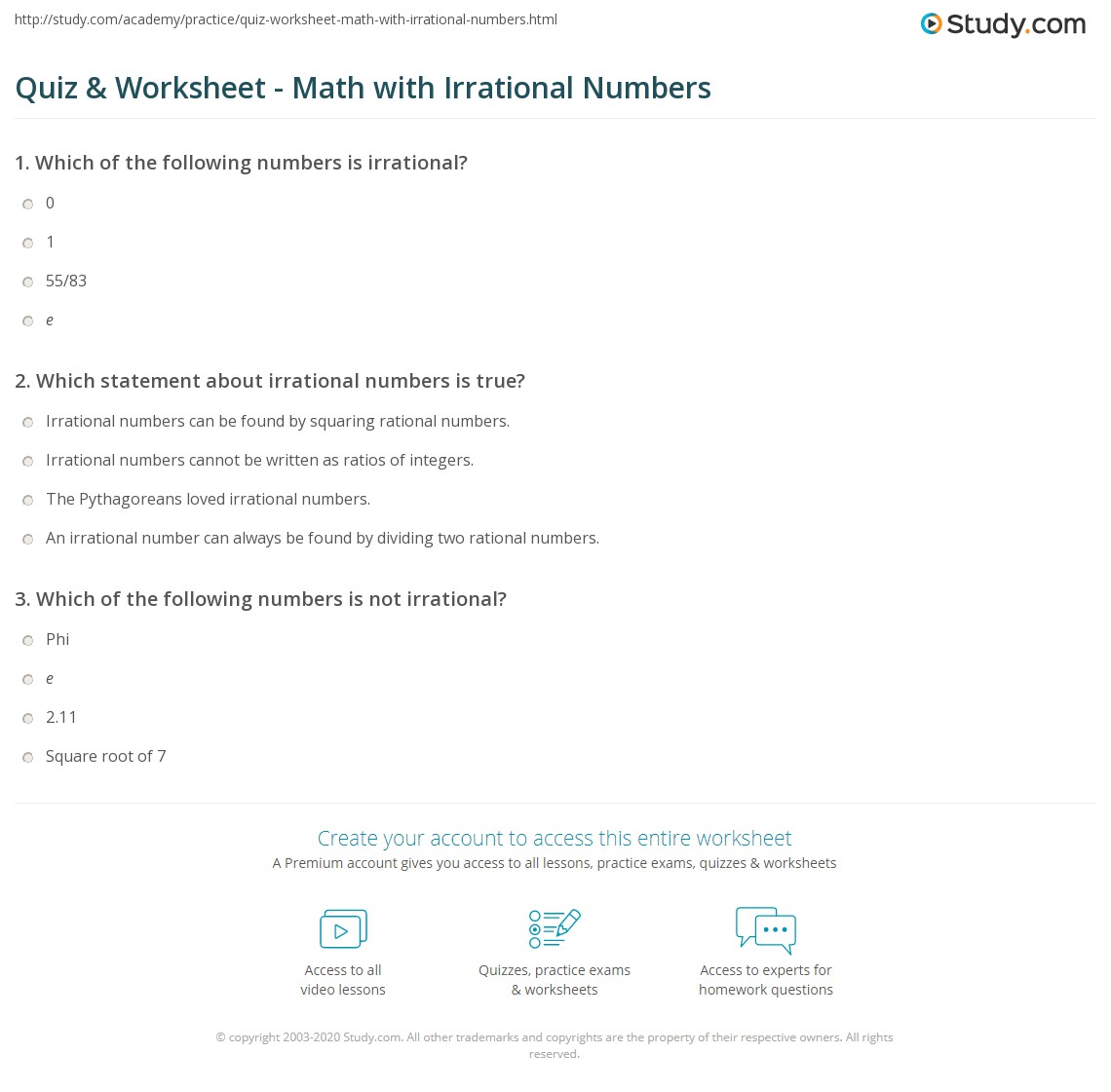 quiz & worksheet - math with irrational numbers | study