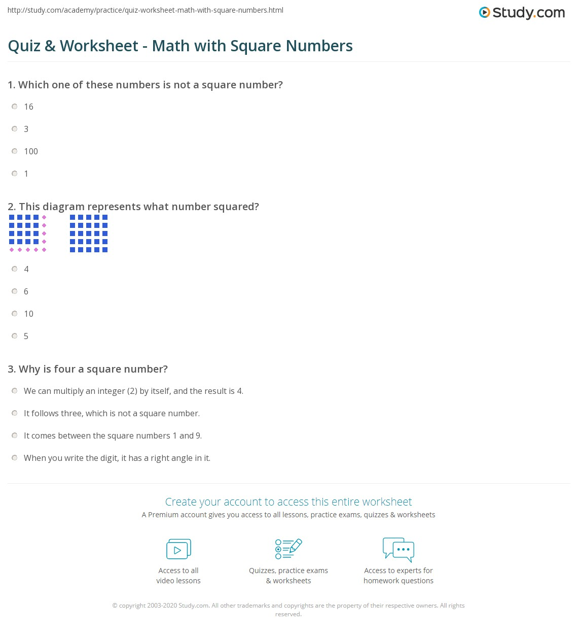 Quiz & Worksheet - Math with Square Numbers | Study.com
