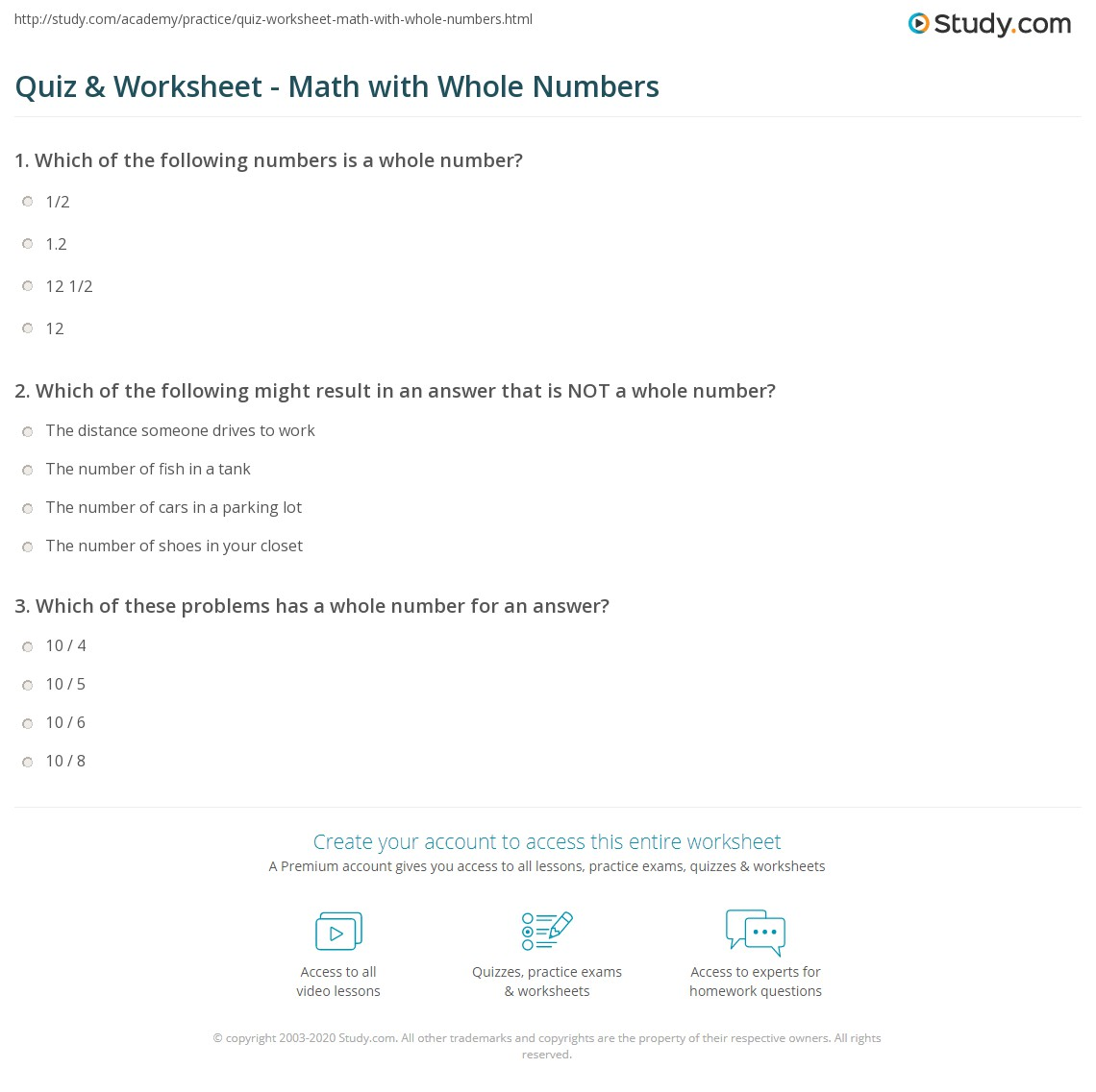 Quiz & Worksheet - Math with Whole Numbers | Study.com
