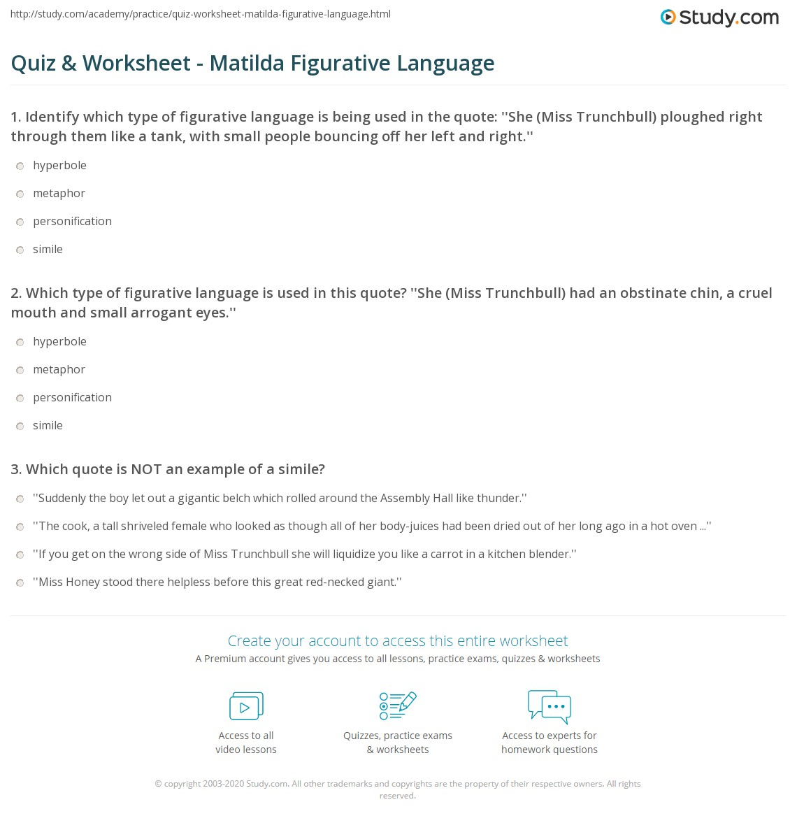 Quiz & Worksheet - Matilda Figurative Language | Study com