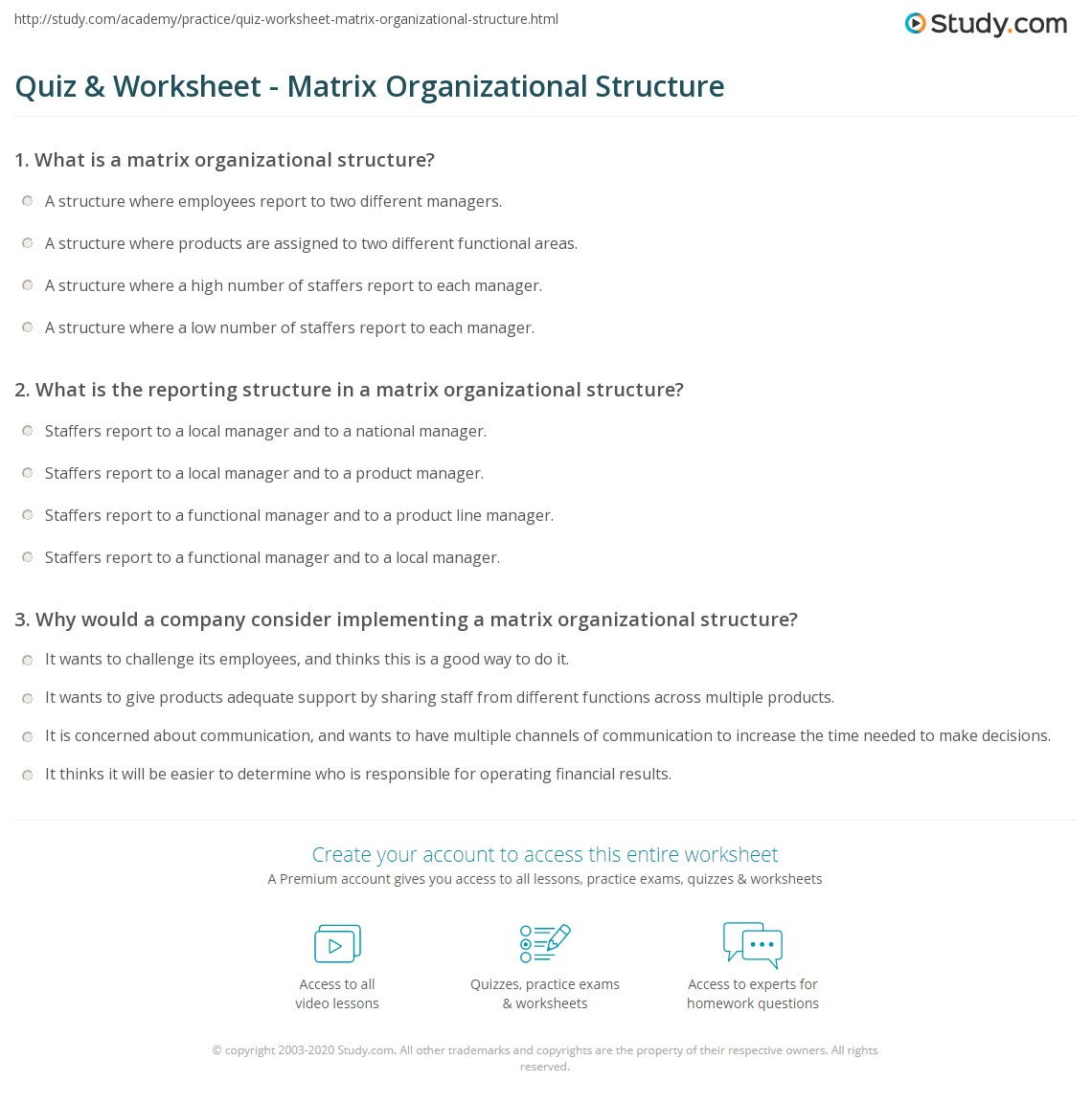 Quiz Worksheet Matrix Organizational Structure – Matrix Worksheets