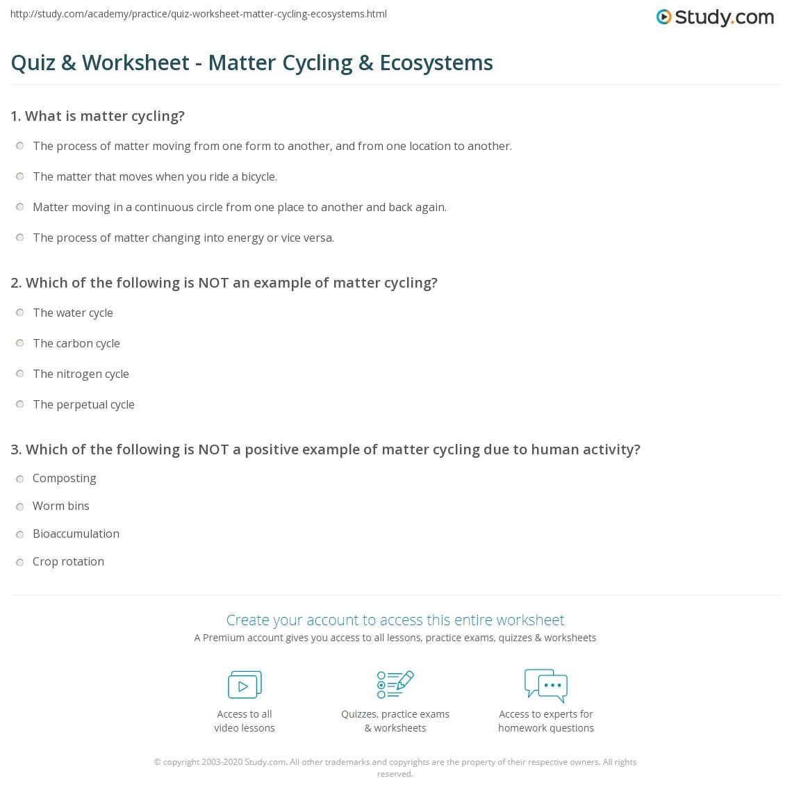 Quiz & Worksheet - Matter Cycling & Ecosystems | Study.com