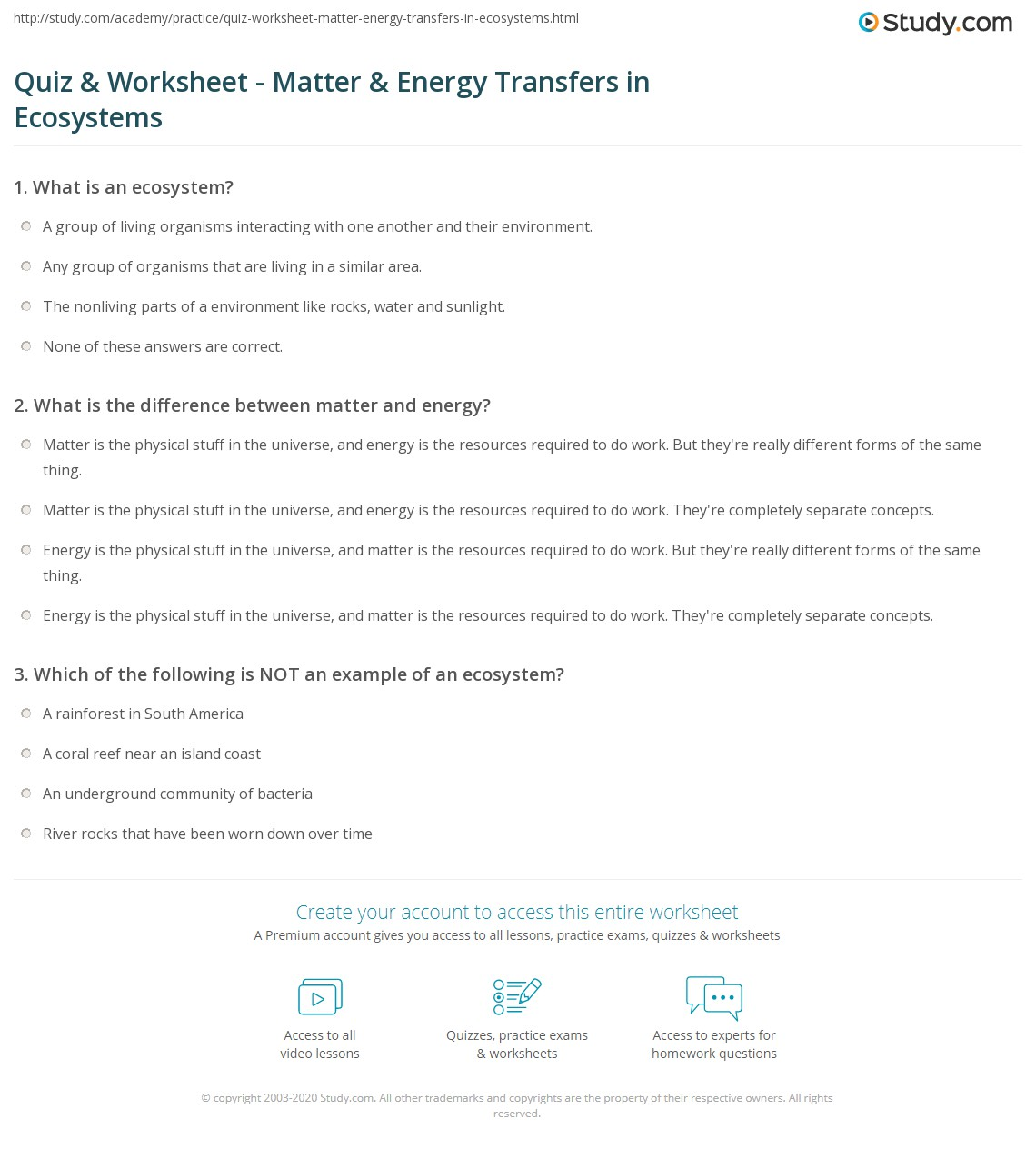 Quiz & Worksheet - Matter & Energy Transfers in Ecosystems | Study.com