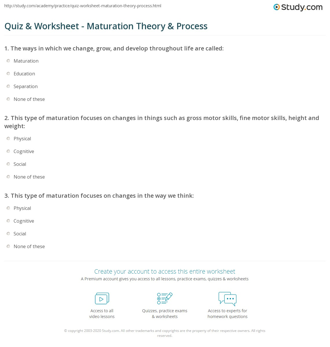 Quiz worksheet maturation theory process study print what is maturation definition theory process worksheet malvernweather Choice Image